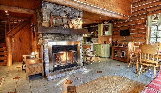 Salon avec foyer au bois - Chalet Riverain