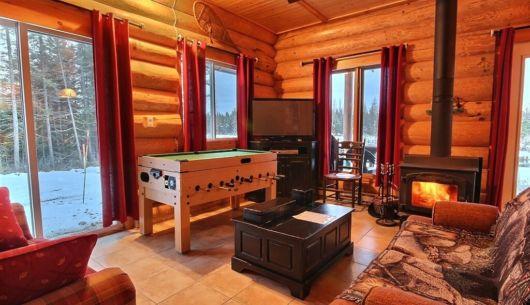 Salon avec poêle à bois - Chalet Ours Noir
