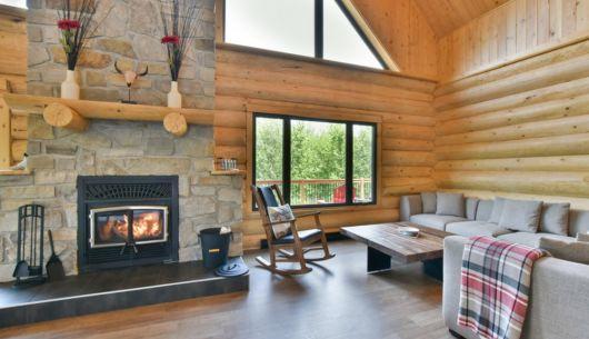 Salon avec foyer au bois - Chalet Perséides