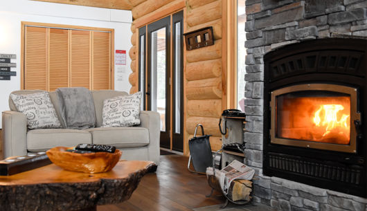 Foyer en pierre - Chalet le Pinecone